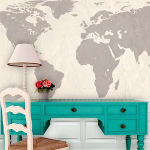 Beautiful map removable wallpaper artwork for sale posters and world atlas map cream self adhesive wallpaper gumiabroncs Choice Image