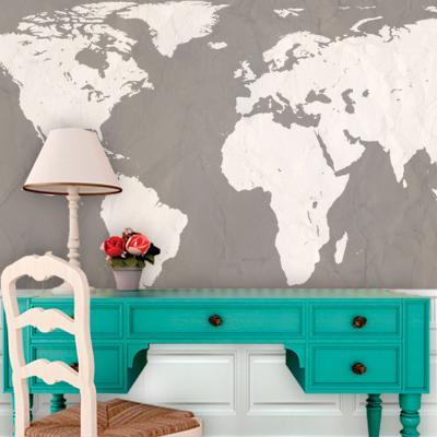 World Atlas Map - Putty Self-Adhesive Wallpaper--Home Accessories