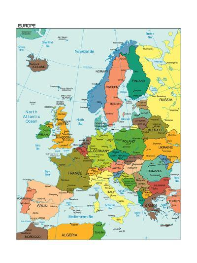 World Earth Europe Continent Country Map-juan35mm-Art Print