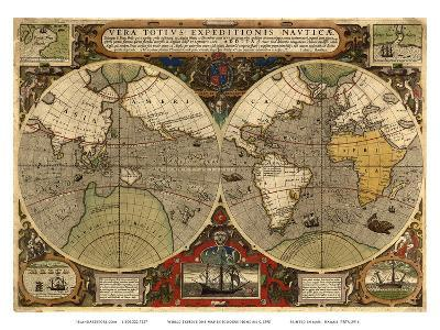 World Expeditions Map with Routes of Sir Francis Drake and Thomas Cavendish-Jodocus Hondius-Art Print