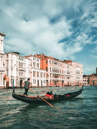 Venetian Gondolier Punts Gondola in Venice, Italy by World Image