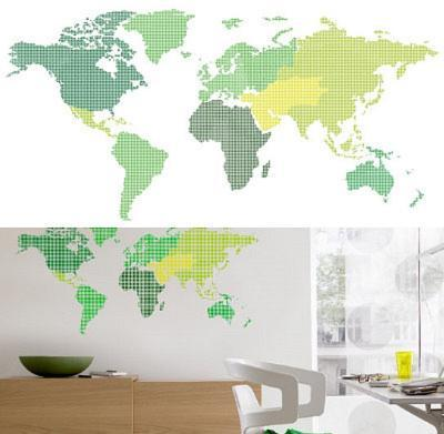 World Map 13 Wall Stickers--Wall Decal