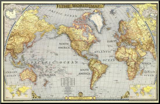 World Map 1943-National Geographic Maps-Mounted Print