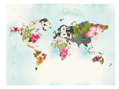 World Map 1-Peach & Gold-Art Print