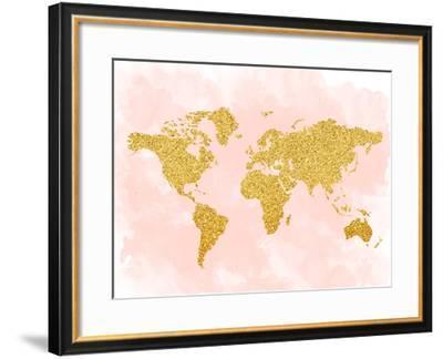 World Map 4-Peach & Gold-Framed Art Print