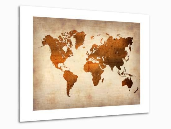 World  Map 7-NaxArt-Metal Print
