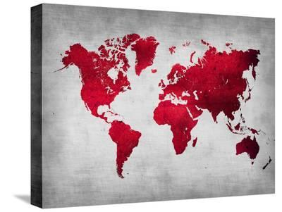 World  Map 9-NaxArt-Stretched Canvas Print