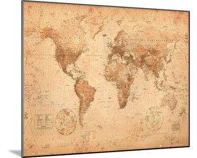 World Map - Antique--Mounted Print
