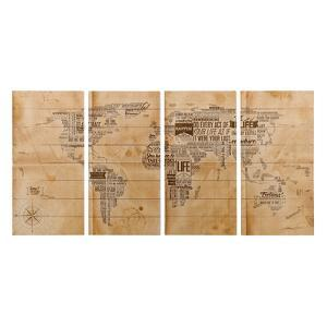 """World Map"" Arte de Legno Digital Print on Solid Wood Wall Art"