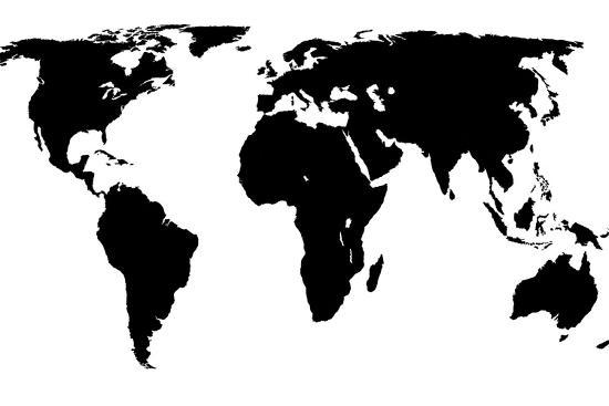 the world map black and white World Map Black On White Art Print Jacques70 Art Com