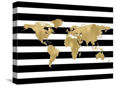 World Map Black White Stripe-Amy Brinkman-Stretched Canvas Print