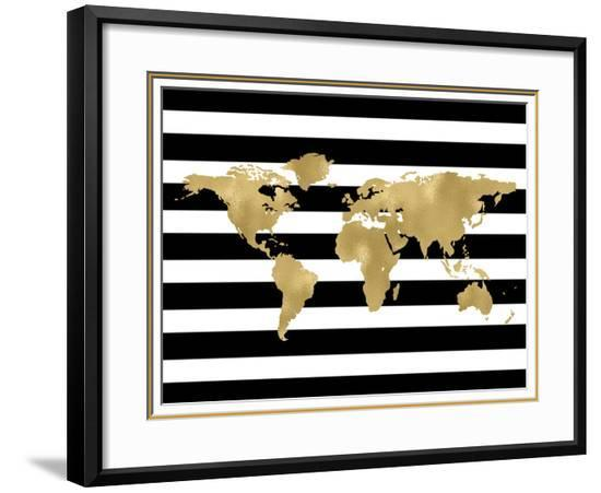 Black And White World Map Framed.World Map Black White Stripe Framed Art Print By Amy Brinkman Art Com
