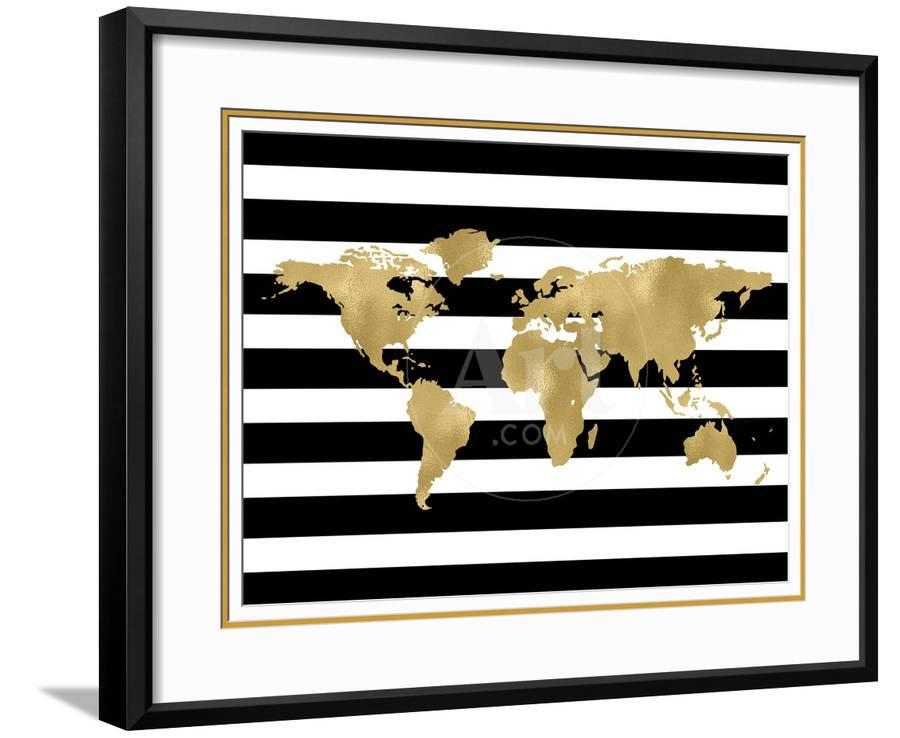 World map black white stripe framed art print by amy brinkman art gumiabroncs Image collections