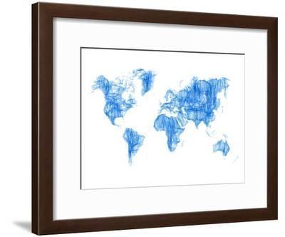 World Map Blue Drawing-NaxArt-Framed Art Print