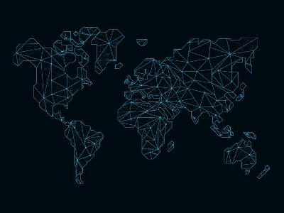 World Map Blue Wire-NaxArt-Art Print