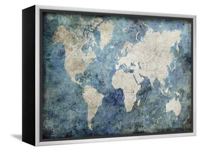 World Map Blue-Jane Fox-Framed Canvas Print