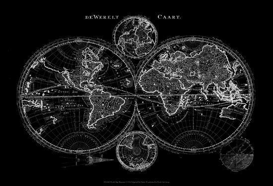 World Map Blueprint Art Print by Studio W | Art com