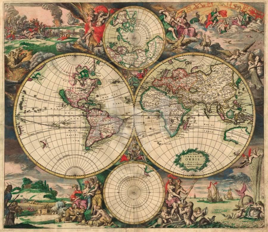 World Map, c.1689 Art Print by Joan Blaeu   Art.com