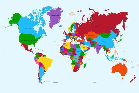 World Map - Colorful Countries Art Print by cienpies | Art.com on west inies on a map of the world, i need a map united states, i need the color wheel, west part of the world,