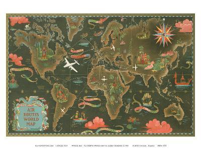 World Map - Fly Routes World Map - Planisphere-Lucien Boucher-Art Print