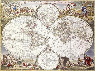 World Map from Atlas Maior, C.1705-Frederick de Wit-Giclee Print