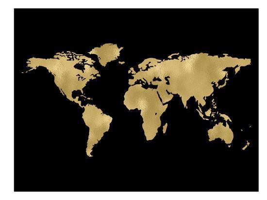 World Map Golden Black-Amy Brinkman-Art Print