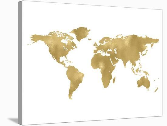World Map Golden White-Amy Brinkman-Stretched Canvas Print