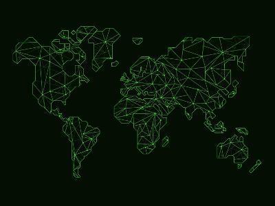World Map Green Wire-NaxArt-Art Print