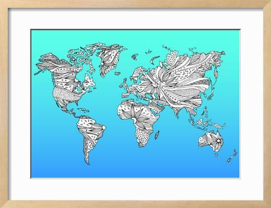 World Map Hand Drawn Flower Floral Design Framed Art Print by ...