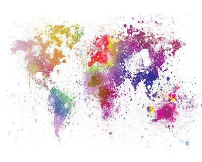 World Map I Watercolor--Art Print