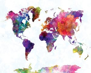 Beautiful world maps artwork for sale posters and prints the new world map ii watercolor gumiabroncs Image collections