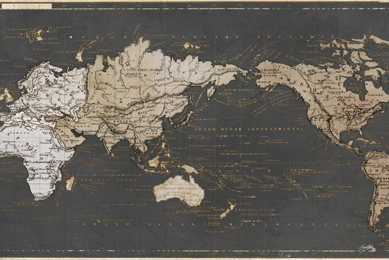 World Map in Gold and Gray-Elizabeth Medley-Art Print