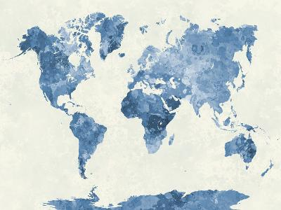 World Map in Watercolor Blue-paulrommer-Giclee Print