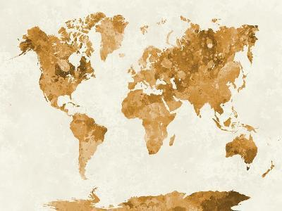 World Map in Watercolor Orange-paulrommer-Art Print