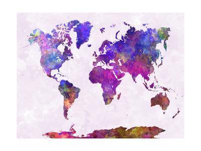 World Map in Watercolor Purple Warm-paulrommer-Giclee Print
