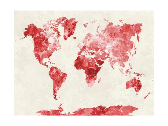 World Map in Watercolor Red-paulrommer-Giclee Print