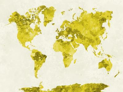 World Map in Watercolor Yellow-paulrommer-Art Print