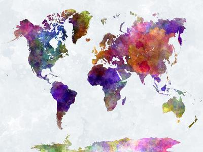 World Map in Watercolorpurple and Blue-paulrommer-Premium Giclee Print