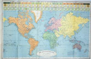 World Map of the Different Time Zones, Published by Blondel La Rougery in Paris c.1920