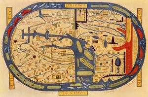World Map of the Flat Earth Printed by Beatus Rhenanus Bildaus Rheinau, 16th Century