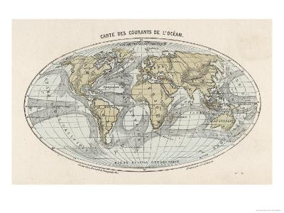 World Map of the Ocean Currents--Giclee Print