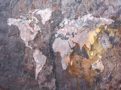 World Map on Stone Background-Michael Tompsett-Art Print