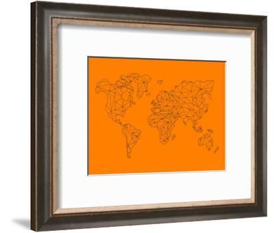 World Map Orange 2-NaxArt-Framed Art Print