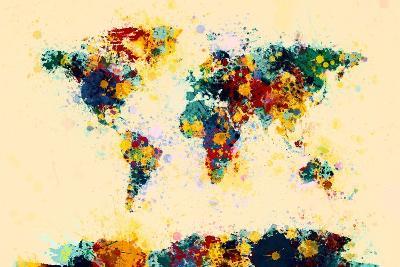 World Map Paint Splashes-Michael Tompsett-Art Print