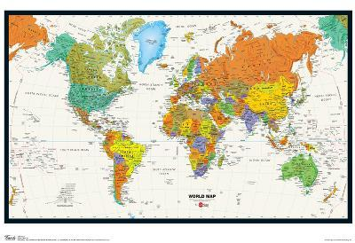 World Map Physical And Political Poster--Poster