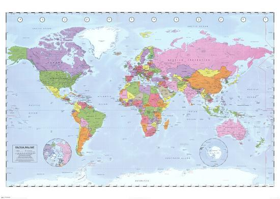 World Map (Political, Time Zones)--Giant Poster