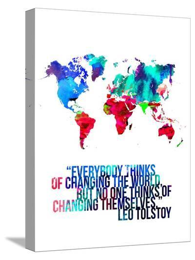 World Map Quote Leo Tolstoy-NaxArt-Stretched Canvas Print