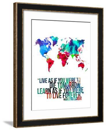 World Map Quote Mahatma Gandi-NaxArt-Framed Art Print
