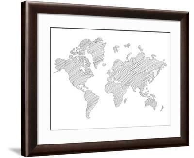 World Map Scribble 1-NaxArt-Framed Art Print