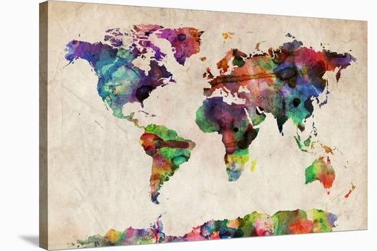 World Map Urban Watercolour-Michael Tompsett-Stretched Canvas Print